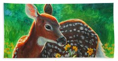 Daisy Deer Hand Towel by Crista Forest