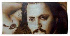Johnny Depp - ' Depp II ' Hand Towel by Christian Chapman Art