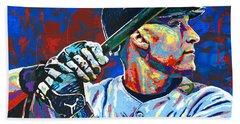 Derek Jeter Hand Towel by Maria Arango