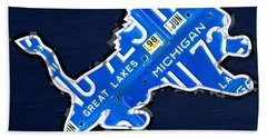 Detroit Lions Football Team Retro Logo License Plate Art Hand Towel by Design Turnpike