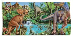 Dinosaur Waterfall Hand Towel by Mark Gregory
