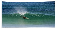 Diving Beneath The Curl Hand Towel by Mike Dawson