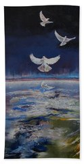 Doves Hand Towel by Michael Creese