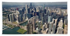 Downtown Chicago Aerial Hand Towel by Adam Romanowicz