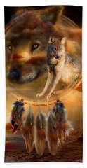 Dream Catcher - Wolfland Hand Towel by Carol Cavalaris