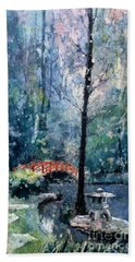 Duke Gardens Watercolor Batik Hand Towel by Ryan Fox