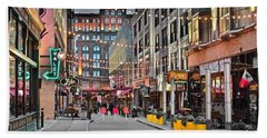 East Fourth Street In Cleveland Hand Towel by Frozen in Time Fine Art Photography