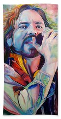 Eddie Vedder In Pink And Blue Hand Towel by Joshua Morton