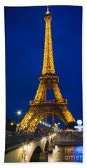 Eiffel Tower By Night Hand Towel by Inge Johnsson