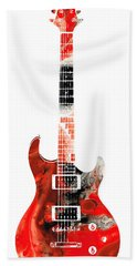 Electric Guitar - Buy Colorful Abstract Musical Instrument Hand Towel by Sharon Cummings