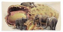 Elephant's Paradise Hand Towel by Eric Fan