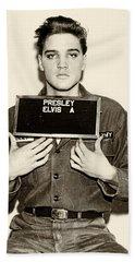 Elvis Presley - Mugshot Hand Towel by Digital Reproductions