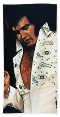 Elvis Presley Painting Hand Towel by Paul Meijering