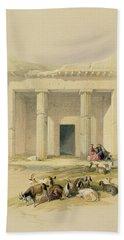 Entrance To The Caves Of Bani Hasan Hand Towel by David Roberts