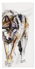 European Wolf Hand Towel by Mark Adlington