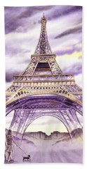 Evening In Paris A Walk To The Eiffel Tower Hand Towel by Irina Sztukowski