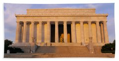 Facade Of A Memorial Building, Lincoln Hand Towel by Panoramic Images