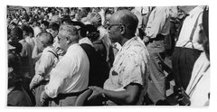 Fans At Yankee Stadium Stand For The National Anthem At The Star Hand Towel by Underwood Archives
