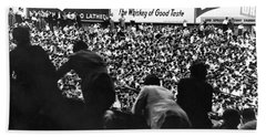 Fans In The Bleachers During A Baseball Game At Yankee Stadium Hand Towel by Underwood Archives
