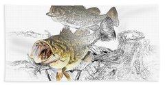 Feeding Largemouth Black Bass Hand Towel by Randall Nyhof