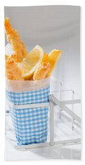 Fish And Chips Hand Towel by Amanda Elwell