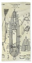 Fishing Lure Patent  Hand Towel by Jon Neidert
