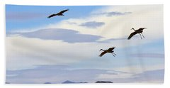 Flight Of The Sandhill Cranes Hand Towel by Mike  Dawson