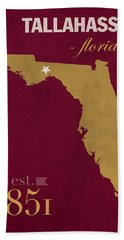 Florida State University Seminoles Tallahassee Florida Town State Map Poster Series No 039 Hand Towel by Design Turnpike