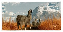 Follow The Llama Hand Towel by Daniel Eskridge