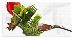 Fresh Vegetables On A Fork Hand Towel by Elena Elisseeva