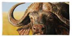 African Buffalo Hand Towel by Mario Pichler
