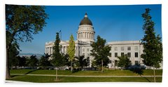 Garden In Front Of Utah State Capitol Hand Towel by Panoramic Images