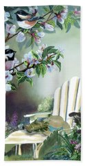 Chickadees In Blossom Tree Hand Towel by Regina Femrite