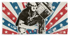 George Washington - Boombox Hand Towel by Pixel Chimp
