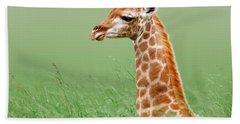 Giraffe Lying In Grass Hand Towel by Johan Swanepoel