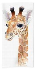 Giraffe Watercolor Hand Towel by Olga Shvartsur
