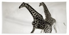 Giraffes Fleeing Hand Towel by Johan Swanepoel
