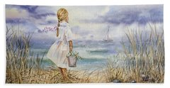 Girl At The Ocean Hand Towel by Irina Sztukowski