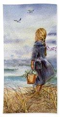 Girl And The Ocean Hand Towel by Irina Sztukowski