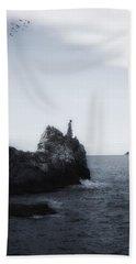 Girl On Cliffs Hand Towel by Joana Kruse