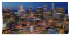 Glowing City Hand Towel by Kelley King