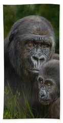 Gorilla And Baby Hand Towel by David Stribbling