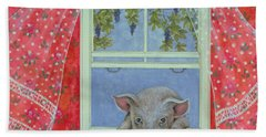 Grapes At The Window Hand Towel by Ditz