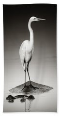 Great White Egret On Hippo Hand Towel by Johan Swanepoel