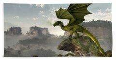 Green Dragon Hand Towel by Daniel Eskridge