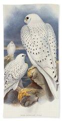 Greenland Falcon Hand Towel by John Gould