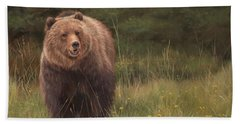 Grizzly Hand Towel by David Stribbling