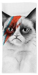 Grumpy Cat As David Bowie Bath Towel by Olga Shvartsur