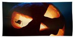 Halloween Pumpkin And Spiders Hand Towel by Johan Swanepoel