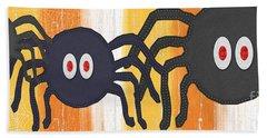 Halloween Spiders Sign Hand Towel by Linda Woods